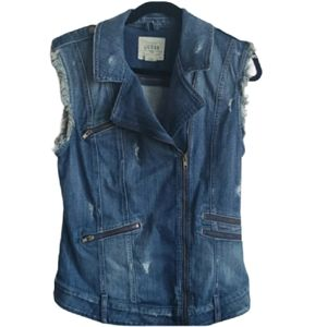Guess Moto Jean Jacket Vest - distressed- …